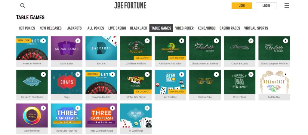 table games joe fortune