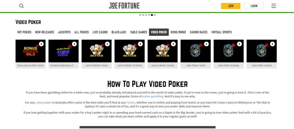 video poker joe fortune