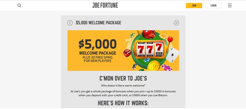 welcome bonus package